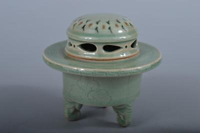 R5495: Korean Goryeo celadon Flower inlay Shapely INCENSE BURNER Tea Ceremony