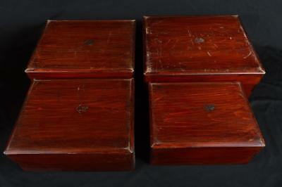 R5468: Japanese Wooden Shapely FOOD BOXES Jubako Lunch Box Tea Ceremony