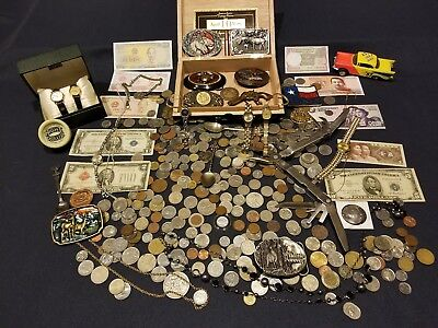 Junk Drawer Lot US$/foreign coins/currency 925 silver jewelry,watches,buckles