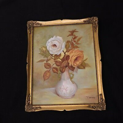 Vintage Romantic Floral Roses Still Life Painting Signed Verne ( Of California)