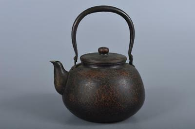 R5535: Japanese Finish hammer pattern OLD COPPER BOTTLE Teapot Dobin, auto