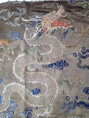 Antique 18th Century Chinese  Qing  Imperial Prince's woven Dragon robe panel