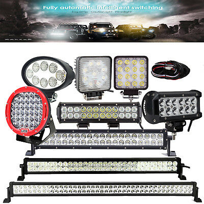 "LED Work Light Bar 24W 27W 36W 45W 48W 185W,12V 24V,24"" 42"" 52""+Wiring Offroad"