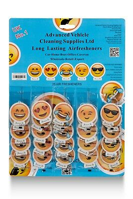 25 X Assorted EMOJI AIR Hanging Air fresheners-Perfect for Valeters/Car Washes