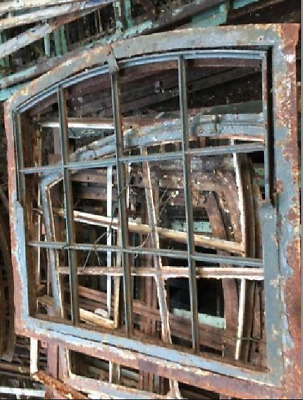 Vintage Cast Iron Arched Industrial Metal Window Frame