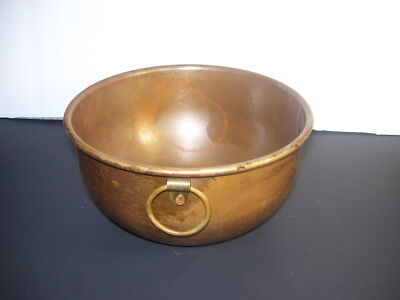 Vintage Copper Round Heavy Mixing Bowl with Brass Hanging Ring Patina 7 Inches