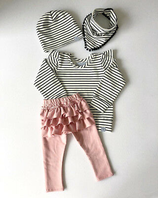 Cute Newborn Kids Baby Girl Cotton Striped Tops T-shirt Pants Outfits Clothes US