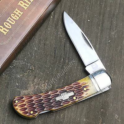 ROUGH RIDER 440 Stainless Amber Jigged Bone Lockback Folding Pocket Knife RR461
