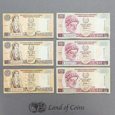 CYPRUS: Set of 6 Cypriot Pound Banknotes.