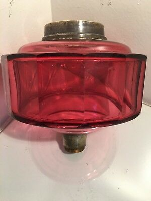 antique large  facet cut cranberry oil lamp fount