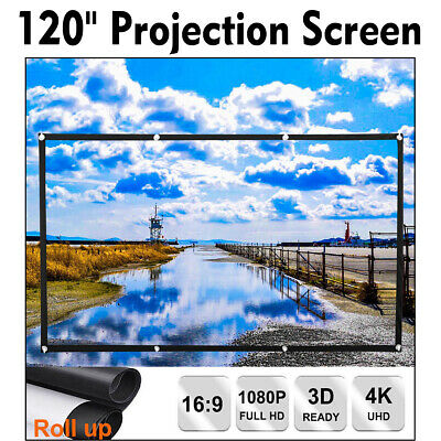 "120"" Portable Foldable Projector Screen 16:9 HD Home Theater Outdoor 3D Movie"