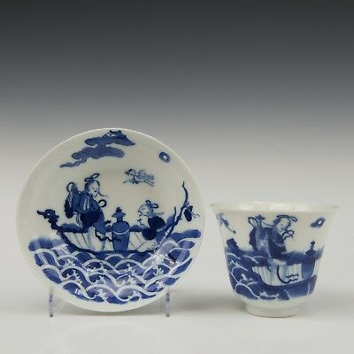 Nice Chinese B&W porcelain cup & saucer, figures, Daoguang period.