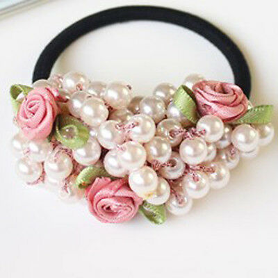 Semi-circle Pearl Bead Flower Headbands Gum for Hair Ponytail Accessories 8C