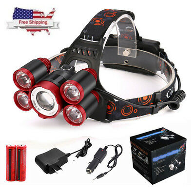35000LM 5x XM-L T6 LED Rechargeable 18650 Headlamp Head Light Zoomable Torch NEW