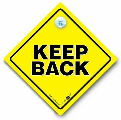 KEEP BACK Car Sign, Anti Tailgater Sign, Safe Driver Suction Cup Vehicle Sign