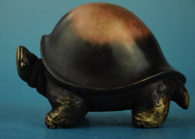 Chinese old fengshui Copper hand-carved  tortoise Statue