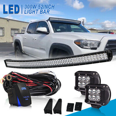 """DUAL-ROW 50INCH Curved LED Light Bar Offroad Fit For Dodge Ram 1500 VAN 52"""""""
