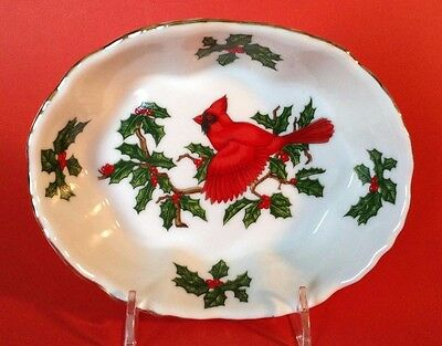 Lefton Hand Painted Cardinal And Holly Christmas Oval Ramekin Candy Bowl