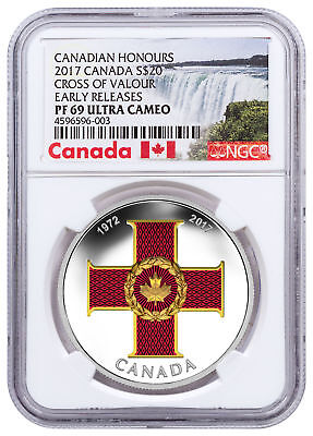 2017 Canada Honors Cross Valor 1 oz Silver Colorized $20 NGC PF69 UC ER SKU49187