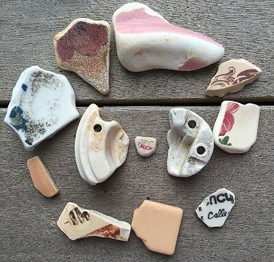 12 Unique Pieces Very Old Pottery Unique Sea Glass Art Mosaic Crafts #396