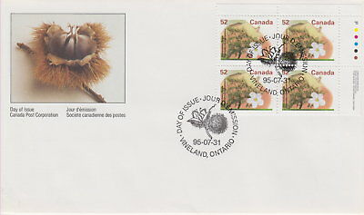 Canada #1366 52¢ Fruit Trees Definitives Ur Plate Block First Day Cover
