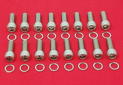 SBF HEADER BOLTS STAINLESS KIT FORD 260 289 302 351W 351C 5.0L POLISHED HARDENED
