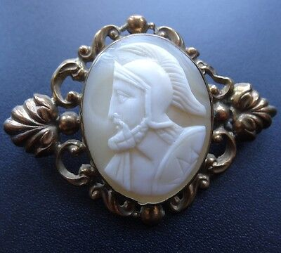 antique Victorian carved shell greek soldier cameo brooch hinged c pin C461