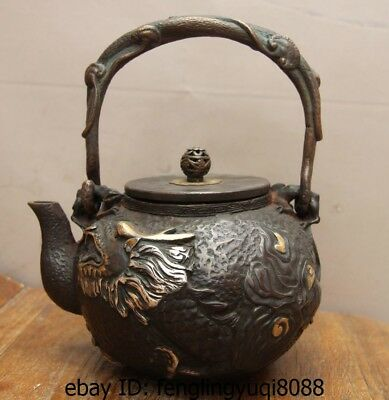 8 Archaic Japan Iron Silver Gilt Dragon God Portable Flagon Kettle Wine Tea Pot