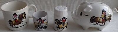 Small Collection Of Vintage Pottery Decorated With Thelwell Cartoon Images