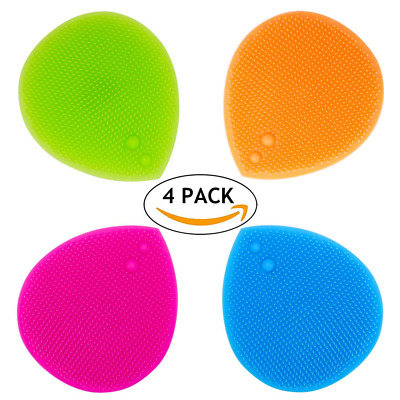 4pc Silicone Soft Facial Cleansing Bath Brush Pad Massager Scrubber Handheld Mat