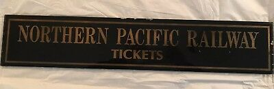 Antique Glass Northern Pacific Railway Tickets Sign.TRAINS RAILROAD