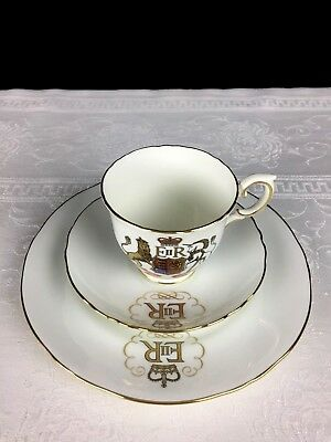 Queen Elizabeth Coronation Trio Cup & Saucer Plate Crown Staffordshire China