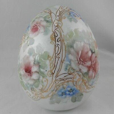 PV02120 Artist Signed Handpainted Porcelain Egg FLORAL with GOLD on Pearl Luster