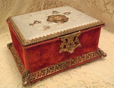 Pretty Red Velvet Fitted Victorian Sewing, Dresser Box, Etui With Tools, Nice