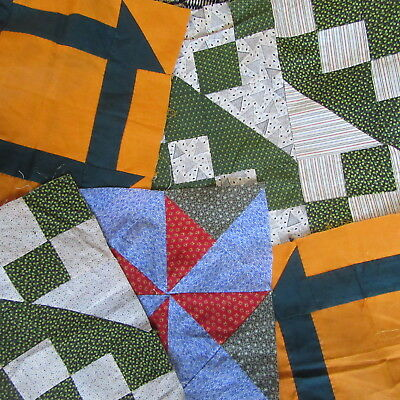 Lot Antique Quilt Blocks Overdyed Green Calico Red Blue Cheddar Fabric Squares