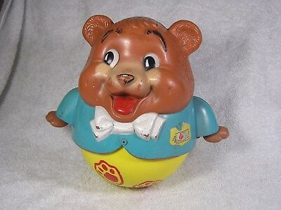 Vtg 1969 Fisher Price Chubby Cub CHIME BEAR PULL TOY No 164 ROLY POLY