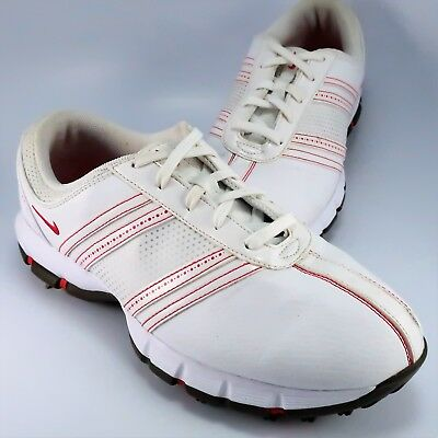 4c64b3962c7 Nike Air Golf Shoes Womens Size 7W White   Red Waterproof Champ Soft Spikes  ...