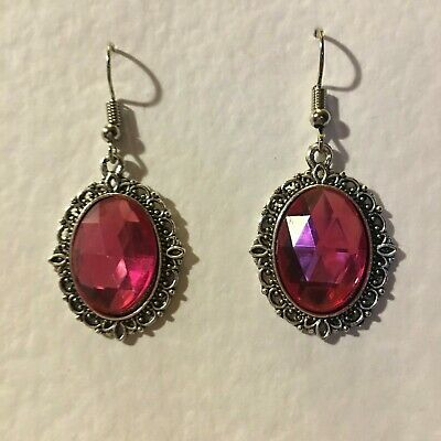 Victorian Style Hot Rose Pink Crystal Filigree Dk Silver Plated Earrings Snv