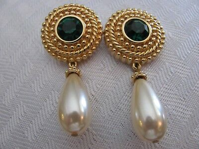 Swarovski Dangle Faux Pearl Emerald Green Crystal Swan Logo Pierced Earrings
