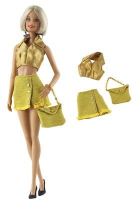 3in1 Fashion Clothes/outfit Top+skirt+bag For Barbie Doll