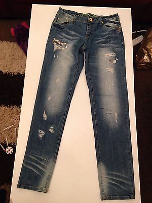 Denim & Co  Boy Fit Ripped Bleached Jeans Size 8 Vgc