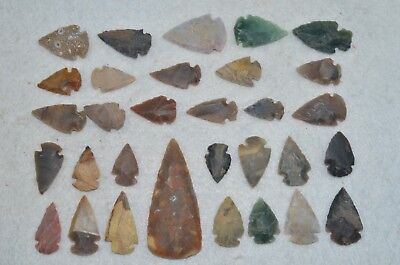 "31 PC Flint Arrowhead Ohio Collection Points 1-3"" Spear Bow Knife Hunting Blade"