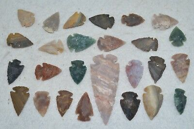 "25 PC Flint Arrowhead Ohio Collection Points 1-3"" Spear Bow Knife Hunting Blade"