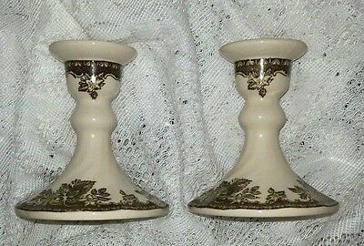 Johnson Brothers VNTG Friendly Village Candle Sticks  Original 60's  MINT!