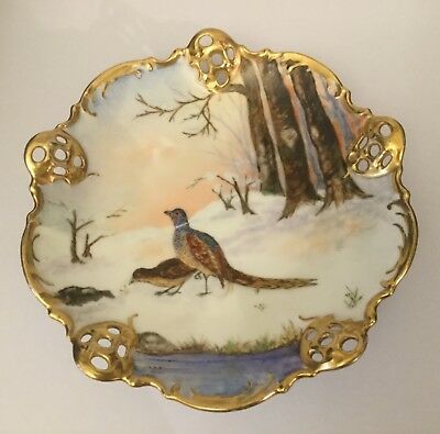 Rosenthal & Co 'Molliere' Pheasants Pattern Hand Painted Dish Gold Trim c1933