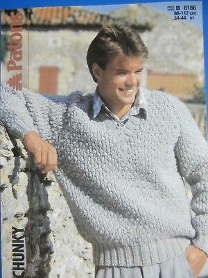 Patons Knitting Pattern 8186 Mens Chunky V Neck Sweater 34 44