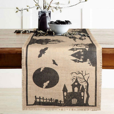 "14 x 74"" Halloween Table Runner Burlap Haunted House, Rustic Jute Fringe Cover"