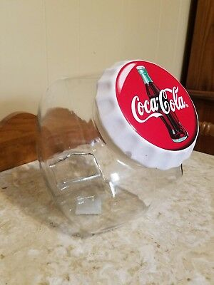 Coca Cola Glass Canister made by Anchor Hocking with ceramic lid