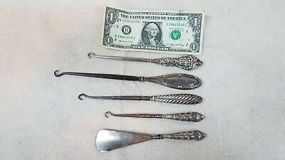Set of 6 Antique Sterling Silver Button Hooks