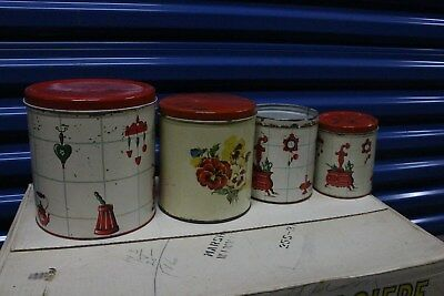 Old Tin Kitchen Canister Set W Matching Bread Box Bakelite Knobs